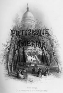 Title page of Picturesque America. This two volume set of books, with over 900 images and detailed descriptions, encouraged tourism by describing and illustrating American natural and cultural scenery. Many of the images first appeared in Appleton's Journal and the books were published as a subscription book from 1872 to 1874. Subscribers agreed to a two-year commitment in which they paid small installments on the total cost of $24 and received sections as they were printed that could later be bound into a book. By 1880 at least 100,000 subscriptions had been sold and over a million copies may have been sold by the early 1900s. See Sue Rainey, Creating Picturesque America, Monument to the Natural and Cultural Landscape (Nashville, TN: Vanderbilt University Press, 1994).