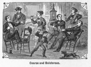 Etiquette for Conversation. Nineteenth century rules of etiquette focused upon class distinctions, but also prescribed different expectations for the behavior of men, women, and children. This image is one of a set from Hill's Manual of Social and Business Forms that compares and contrasts the improper and proper forms of conversation. What rules of etiquette are the women and children breaking in this image and correctly demonstrating in the next image? Are the differences in behavior of the men in the two images as different as the differences in behavior of the women and children?