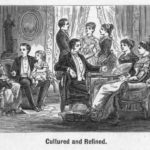 Etiquette for Conversation. Nineteenth century rules of etiquette focused upon class distinctions, but also prescribed different expectations for the behavior of men, women, and children. This image is one of a set from Hill's Manual of Social and Business Forms that compares and contrasts the improper and proper forms of conversation. What rules of etiquette are the women and children breaking in the previous image and correctly demonstrating in the this image? Are the differences in behavior of the men in the two images as different as the differences in behavior of the women and children?