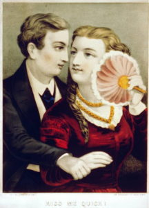 """Kiss Me Quick!. Currier & Ives. The printmaking firm Currier and Ives sold inexpensive lithograph prints depicting historical events, popular images, and portraits from 1834 to 1907. This print and """"No You Don't"""" sent conflicting messages about the behavior of a courting couple.Library of Congress."""
