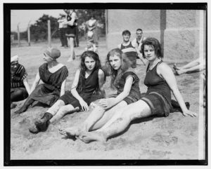 Girls on the beach between 1909 and 1932
