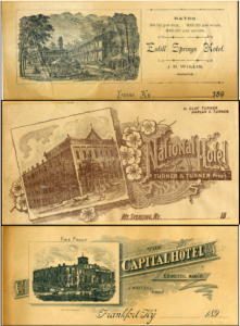 Hotel Advertising Cards, late 1800s, place-based primary sources