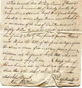 Bill of sale for a slave, 1816, Garrard County, KY