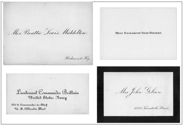 Visiting Cards, 1909. Complicated rules of etiquette governed the appearance and use of visiting cards. The black border on the card on the bottom left indicated that the person was in mourning due to the death of a family member.