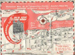 Tourist Map of St. Augustine Florida, c. 1960.