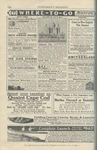Travel advertisements, Everybody's Magazine, April 1912