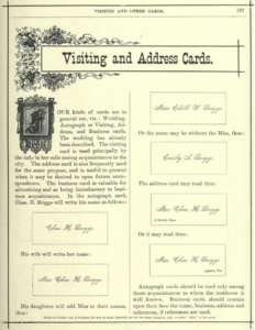 Visiting and calling card rules, 1888.