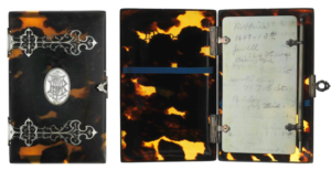 Calling card case (outside and inside view) from mid - 1800s.