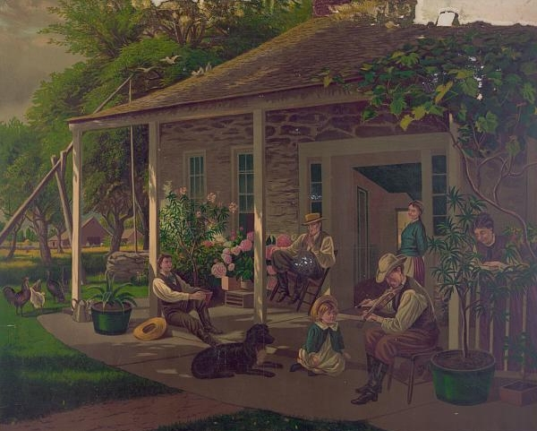 Rural life is idealized in this color lithograph.