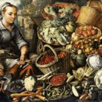 Painting of 16th century food market