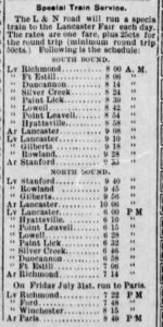Train schedule from Lancaster, KY newspaper, 1908