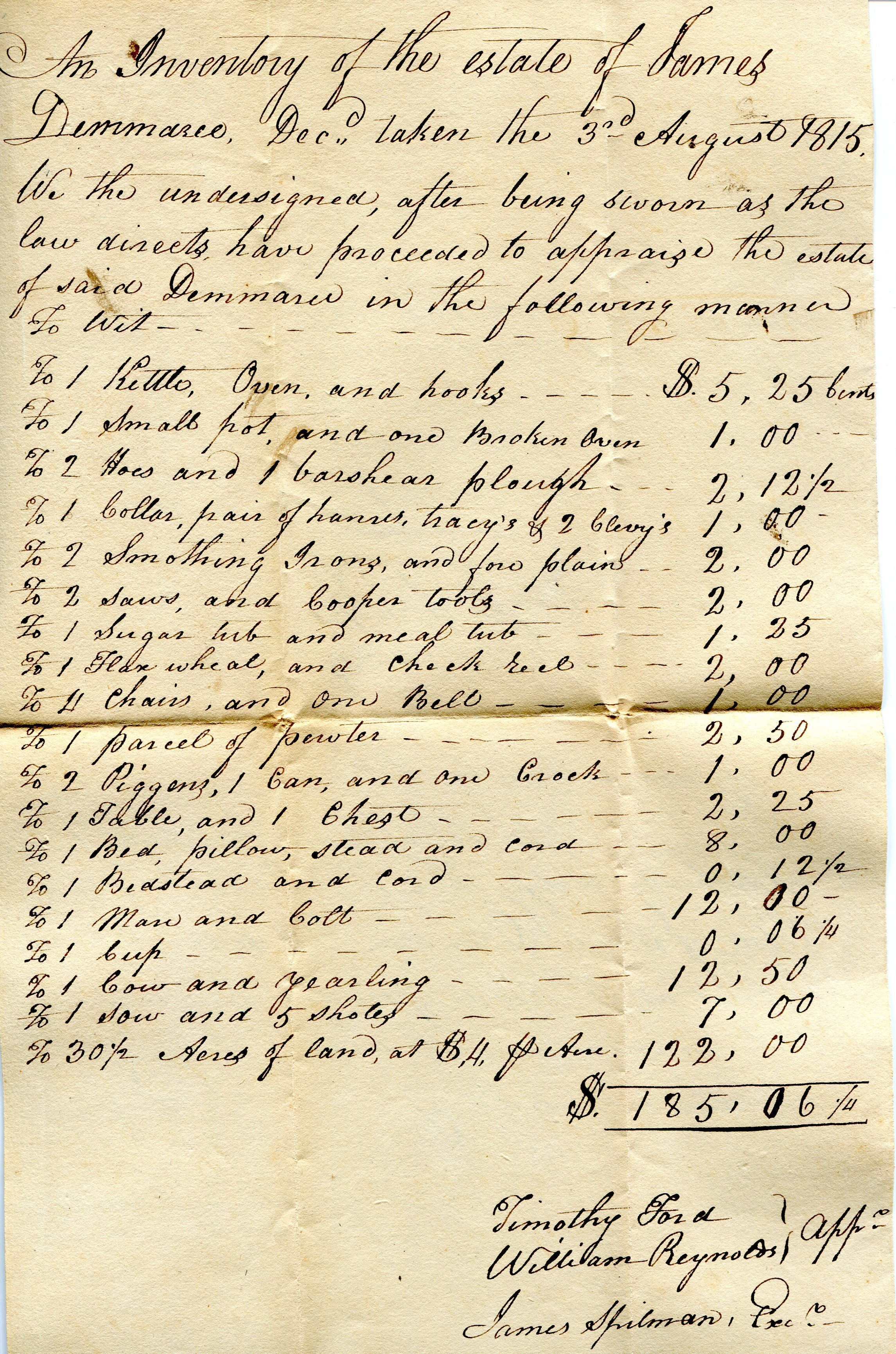 Estate Inventories: Primary Sources for Daily Life in the Past