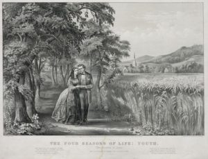 1868 Currier and Ives print, The Four Seasons of Life: Youth.