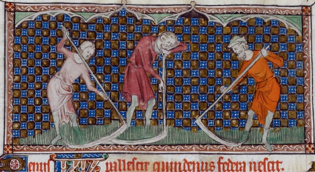 Men cutting hay with scythes. 14th century