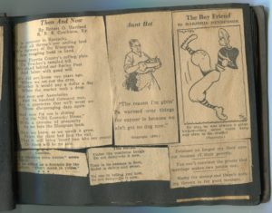 This scrapbook of newspaper clippings and cartoons, created in the 1920s, belonged to Katherine Warford Wilson (1906 - 1991) of Kentucky.