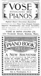 Advertisements in magazines promoted affordable pianos for the home in the late 19th and early 20th century.